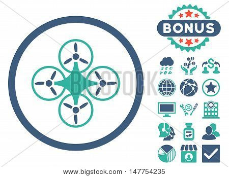 Air Drone icon with bonus elements. Vector illustration style is flat iconic bicolor symbols, cobalt and cyan colors, white background.
