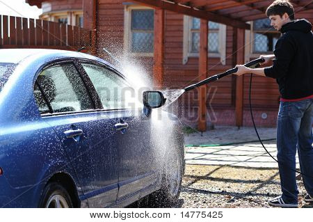 Blue car washing on open air