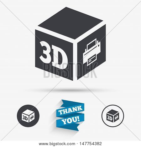 3D Print sign icon. 3d cube Printing symbol. Additive manufacturing. Flat icons. Buttons with icons. Thank you ribbon. Vector