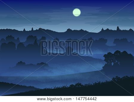 vector illustration with color misty landscape in the moonlight