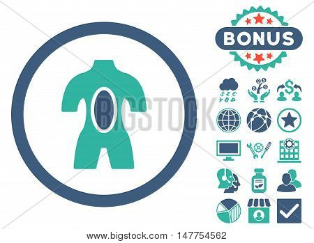 Anatomy icon with bonus elements. Vector illustration style is flat iconic bicolor symbols, cobalt and cyan colors, white background.
