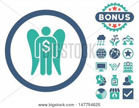 Angel Investor icon with bonus design elements. Vector illustration style is flat iconic bicolor symbols, cobalt and cyan colors, white background.