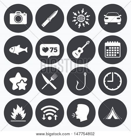Calendar, wifi and clock symbols. Like counter, stars symbols. Camping travel icons. Fishing, campfire and tourist tent signs. Guitar music, fork and knife symbols. Talking head, go to web symbols. Vector
