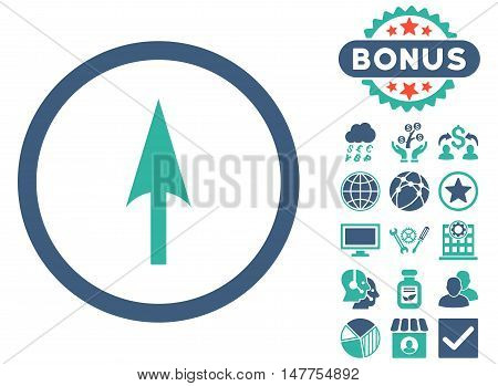 Arrow Axis Y icon with bonus pictogram. Vector illustration style is flat iconic bicolor symbols, cobalt and cyan colors, white background.