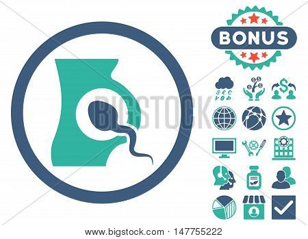 Artificial Insemination icon with bonus symbols. Vector illustration style is flat iconic bicolor symbols, cobalt and cyan colors, white background.