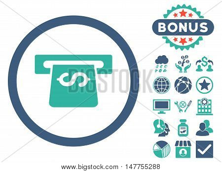 Atm icon with bonus design elements. Vector illustration style is flat iconic bicolor symbols, cobalt and cyan colors, white background.
