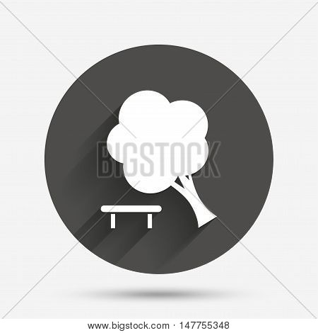 Falling tree sign icon. Caution break down tree symbol. Circle flat button with shadow. Vector