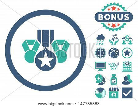 Awards icon with bonus pictogram. Vector illustration style is flat iconic bicolor symbols, cobalt and cyan colors, white background.