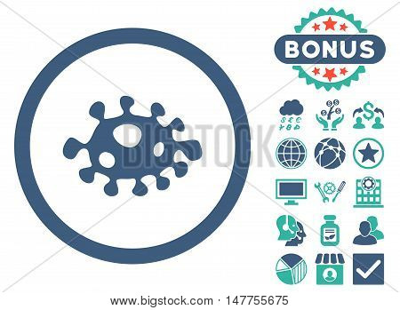 Bacteria icon with bonus pictures. Vector illustration style is flat iconic bicolor symbols, cobalt and cyan colors, white background.