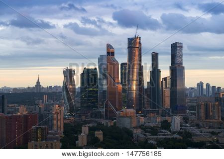 MOSCOW - JUL 8, 2016: Modern Moscow International Business Center at evening. Investments in Moscow International Business Center was approximately 12 billion dollars
