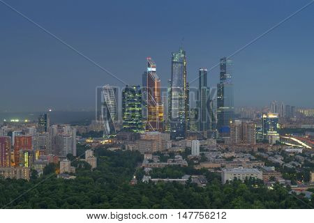 MOSCOW - JUL 18, 2016: Modern Moscow International Business Center and residential area. In 2016 on territory of Moscow International Business Center twenty of twenty-three planned facilities is built