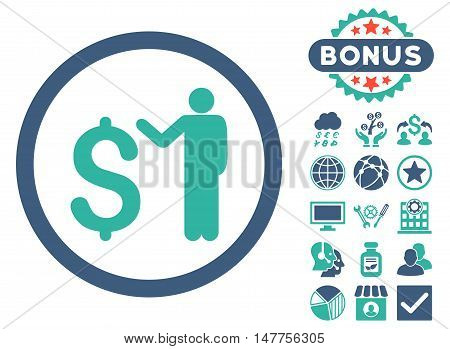Banker icon with bonus design elements. Vector illustration style is flat iconic bicolor symbols, cobalt and cyan colors, white background.