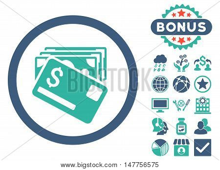 Banknotes and Card icon with bonus design elements. Vector illustration style is flat iconic bicolor symbols, cobalt and cyan colors, white background.