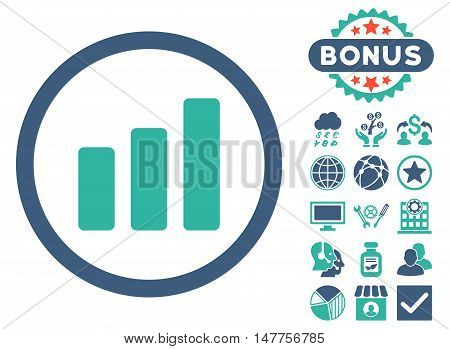 Bar Chart Increase icon with bonus pictogram. Vector illustration style is flat iconic bicolor symbols, cobalt and cyan colors, white background.