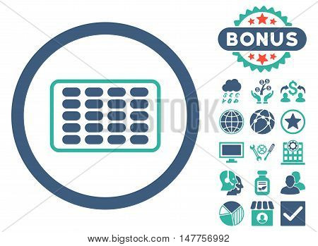 Blister icon with bonus design elements. Vector illustration style is flat iconic bicolor symbols, cobalt and cyan colors, white background.