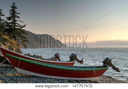 Boats on the Whistle beach on Grand Manan New Brunswick
