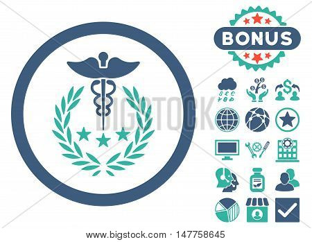 Caduceus Logo icon with bonus pictogram. Vector illustration style is flat iconic bicolor symbols, cobalt and cyan colors, white background.