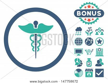 Caduceus icon with bonus symbols. Vector illustration style is flat iconic bicolor symbols, cobalt and cyan colors, white background.