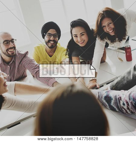 Casual People Team Cooperation Frame Graphic Concept