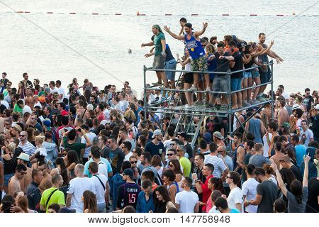 BUDVA- JULY 19.2015. IN BUDVA, JAZ BEACH, MONTENEGRO  : CROWD IN FRONT OF THE MAIN STAGE AT SEA DANCE FESTIVAL 2015 MUSIC FESTIVAL