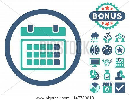 Calendar icon with bonus pictogram. Vector illustration style is flat iconic bicolor symbols, cobalt and cyan colors, white background.