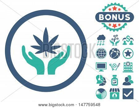 Cannabis Care Hands icon with bonus images. Vector illustration style is flat iconic bicolor symbols, cobalt and cyan colors, white background.