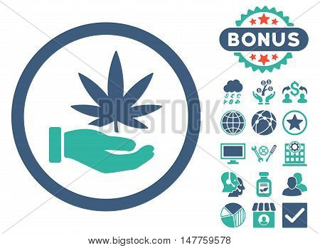 Cannabis Offer Hand icon with bonus images. Vector illustration style is flat iconic bicolor symbols, cobalt and cyan colors, white background.