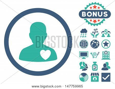 Cardiology Patient icon with bonus pictogram. Vector illustration style is flat iconic bicolor symbols, cobalt and cyan colors, white background.