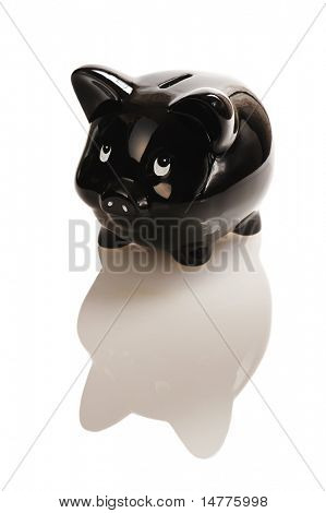 Black piggy bank isolated on white with reflection