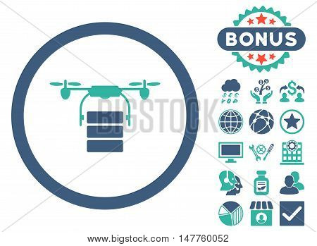 Cargo Drone icon with bonus design elements. Vector illustration style is flat iconic bicolor symbols, cobalt and cyan colors, white background.