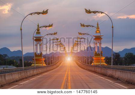 Third Thai Lao Friendship Bridge at twilight time Nakhon Phanom Province Thailand