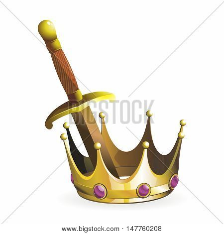Vector Vintage Medieval King Golden Sword and Crown Illustration isolated on white background