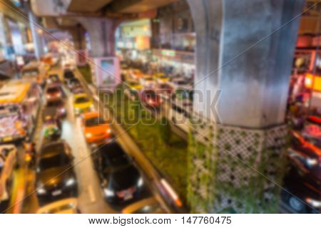 Blurred background .heavy traffic at Siam Square. Bangkok ,Thailand