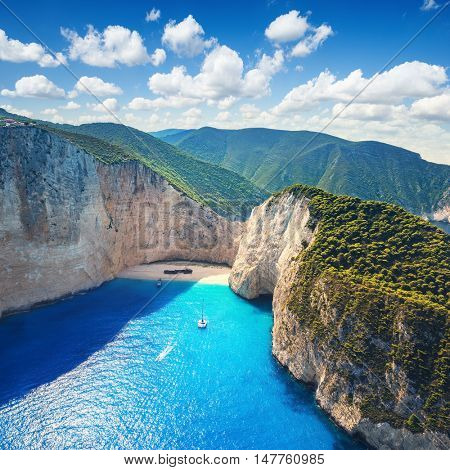 The amazing Navagio beach in Zante, Greece, with the famous wrecked ship - Wreck beach