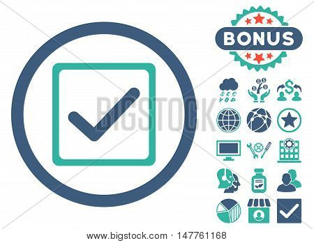 Checkbox icon with bonus pictogram. Vector illustration style is flat iconic bicolor symbols, cobalt and cyan colors, white background.