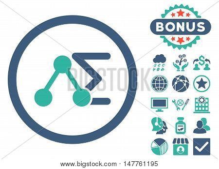 Chemical Formula icon with bonus elements. Vector illustration style is flat iconic bicolor symbols, cobalt and cyan colors, white background.