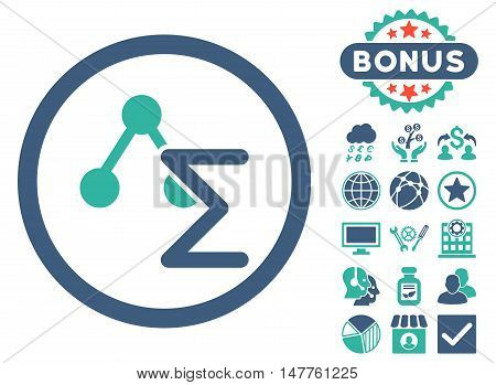 Chemical Formula icon with bonus design elements. Vector illustration style is flat iconic bicolor symbols, cobalt and cyan colors, white background.