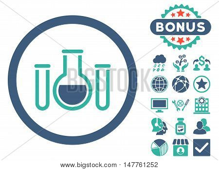 Chemical Vessels icon with bonus symbols. Vector illustration style is flat iconic bicolor symbols, cobalt and cyan colors, white background.