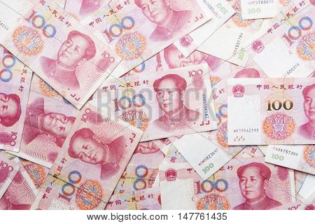 close up china money 100 bank note background
