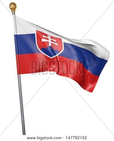 National flag for country of Slovakia isolated on white background, 3D rendering