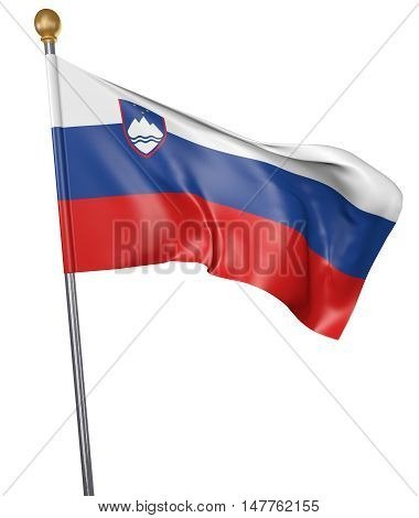National flag for country of Slovenia isolated on white background, 3D rendering