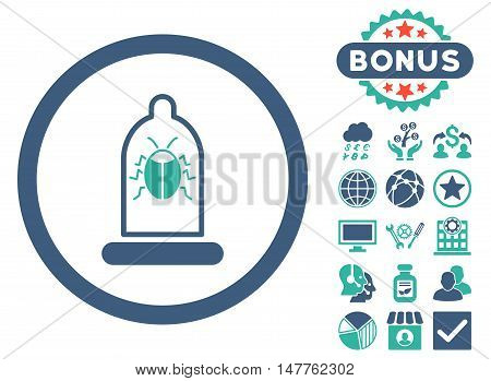 Condom Bug icon with bonus symbols. Vector illustration style is flat iconic bicolor symbols, cobalt and cyan colors, white background.