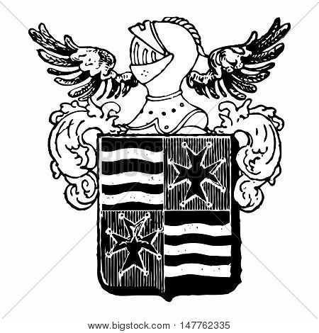 Vector Vintage Pixelated Monochrome Royal emblem of Plate Mail Knight Helmet and Shield Crest