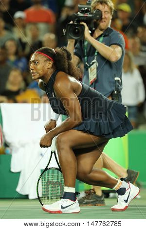 RIO DE JANEIRO, BRAZIL - AUGUST 8, 2016: Olympic champion Serena Williams of United States after women's singles round two match of the Rio 2016 Olympic Games at the Olympic Tennis Centre