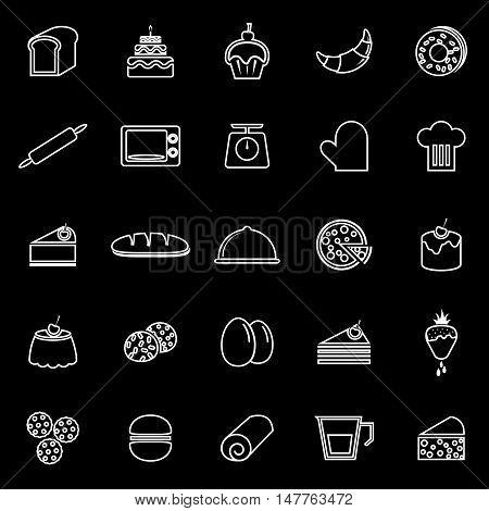 Bakery line icons on black background, stock vector