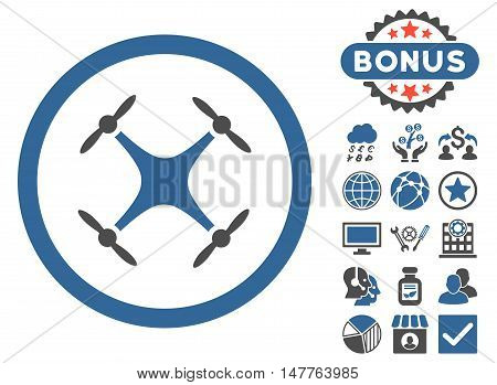 Airdrone icon with bonus design elements. Vector illustration style is flat iconic bicolor symbols, cobalt and gray colors, white background.