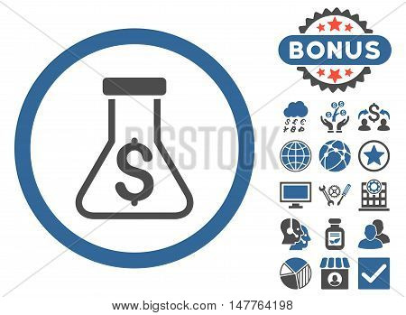 Alchemy icon with bonus pictures. Vector illustration style is flat iconic bicolor symbols, cobalt and gray colors, white background.