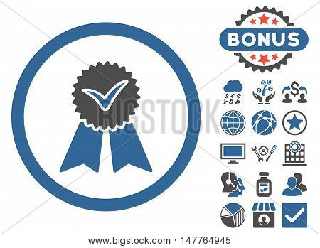 Approvement Seal icon with bonus elements. Vector illustration style is flat iconic bicolor symbols, cobalt and gray colors, white background.