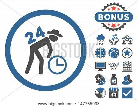 Around the Clock Work icon with bonus pictogram. Vector illustration style is flat iconic bicolor symbols, cobalt and gray colors, white background.