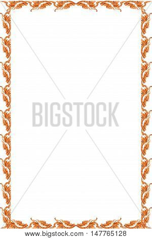 Traditional thai style pattern frame on white background